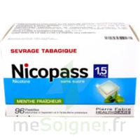 Nicopass 1,5 mg Pastille sans sucre menthe fraîcheur Plq/96 à Saint-Avold